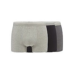 The Collection - Big and tall pack of three grey and black plain hipster trunks