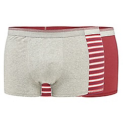 The Collection - Big and tall pack of three dark red plain and striped hipster trunks