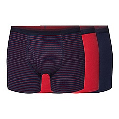 The Collection - Pack of three navy plain and pinstriped trunks