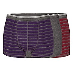 The Collection - Pack of three grey plain and triple striped hipster trunks