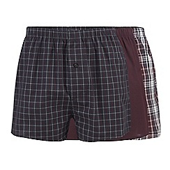 The Collection - Pack of three dark red checked woven boxers