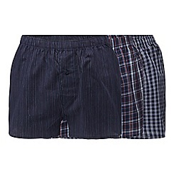The Collection - Pack of three navy striped and checked woven boxer shorts