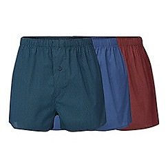 The Collection - Pack of three blue, green and red triangle print woven boxers