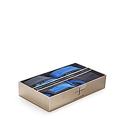 J by Jasper Conran - Pack of two blue plain and striped keyhole trunks in a gift box