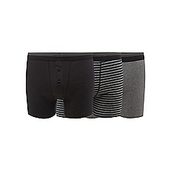 The Collection - Big and tall pack of three black plain and breton striped boxers