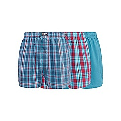 Mantaray - Big and tall pack of three turquoise checked boxers
