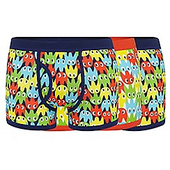 Red Herring - Pack of three navy and orange ghost printed trunks