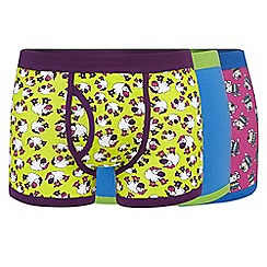 Red Herring - Pack of three green sheep and dog printed keyhole trunks