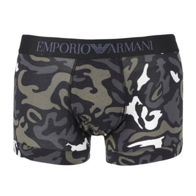 Black Camouflage Print Trunks
