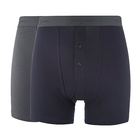 J by Jasper Conran - Designer pack of two navy and grey two button boxers