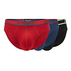 Emporio Armani - Pack of three red cotton stretch briefs