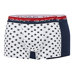 Gant - Pack of two navy star print cotton stretch trunks