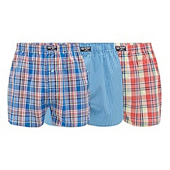 Mantaray - Pack of three blue and red checked and striped print woven boxers
