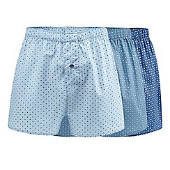 The Collection - Big and tall pack of three blue geometric print boxers