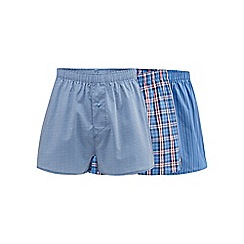The Collection - Pack of three blue patterned print boxers