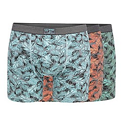 Mantaray - Pack of three green, orange and turquoise leaf print hipster trunks