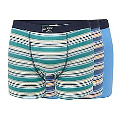 Mantaray - Big and tall pack of three blue and green striped and plain hipster trunks