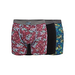 Mantaray - Big and tall pack of three dark red and navy floral car print and plain black keyhole trunks