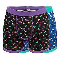 Red Herring - Pack of two purple skull print trunks