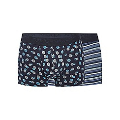RJR.John Rocha - Pack of two navy patterned hipster trunks