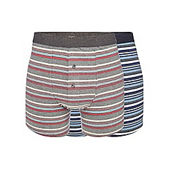 RJR.John Rocha - Pack of two blue and red striped print button boxers