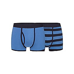 J by Jasper Conran - Big and tall pack of two navy and blue striped print keyhole trunks