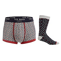 Ted Baker - Grey and navy heart print boxer briefs and socks in a gift box