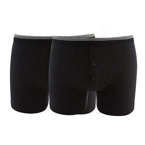 Thomas Nash - Pack of two black two button boxers