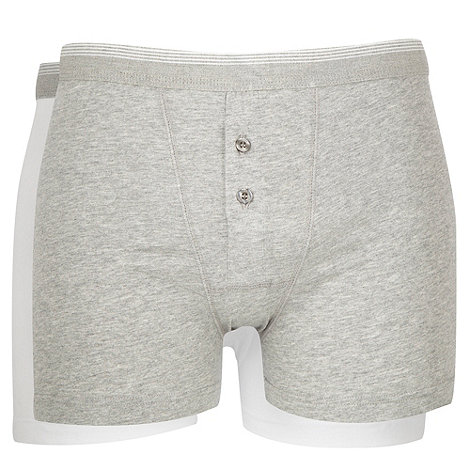 Thomas Nash - Pack of two white and grey button boxers