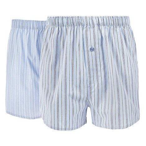 Thomas Nash - Pack of two blue striped woven boxers