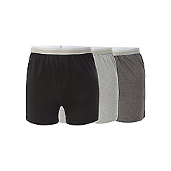 The Collection - Big and tall pack of three grey button boxers