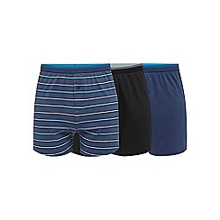 The Collection - Big and tall pack of three aqua button boxers