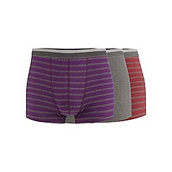 The Collection - Big and tall pack of three purple striped hipster trunks