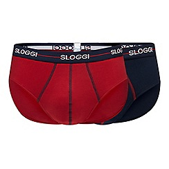 Sloggi - Pack of two navy and red briefs