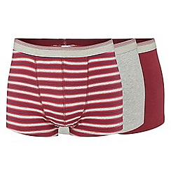 The Collection - Big and tall pack of three dark red hipster trunks