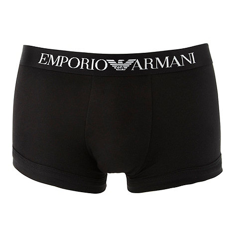 Emporio Armani - Black stretch cotton boxer trunks