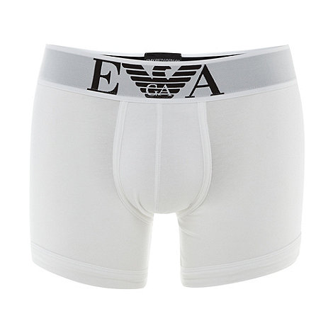 Emporio Armani - White stretch cotton logo boxers