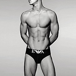 Emporio Armani - Black stretch cotton hipster briefs