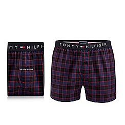 Tommy Hilfiger - Blue woven check print boxer briefs in a gift box