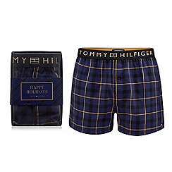 Tommy Hilfiger - Navy woven check print boxer briefs in a gift box