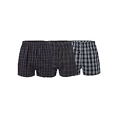 The Collection - Set of three grey checked print woven boxers