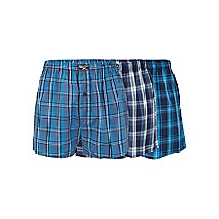 Mantaray - Big and tall big and tall three pack of blue woven boxers