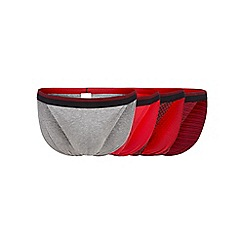 The Collection - Pack of four red and grey plain and patterned tanga briefs
