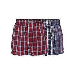 Mantaray - Three pack of navy and red woven boxers