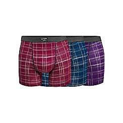 Mantaray - Big and tall big and tall pack of three assorted checked hipster trunks