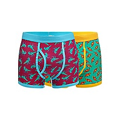 Red Herring - Pack of two multicoloured dinosaur print trunks