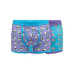 Red Herring - Pack of two purple dog print keyhole trunks