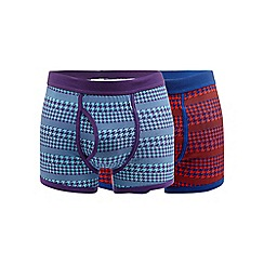 Red Herring - Pack of two multi-coloured houndstooth trunks