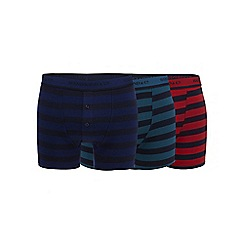 Hammond & Co. by Patrick Grant - Big and tall pack of three navy striped boxer shorts