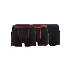 Hammond & Co. by Patrick Grant - Big and tall pack of three black contrast waistband hipster trunks